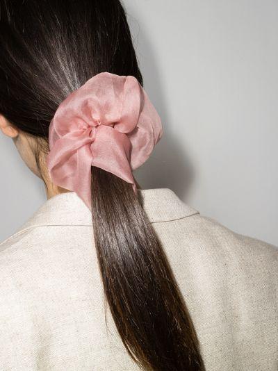 pink silk organza scrunchie