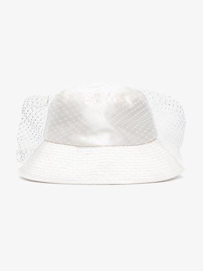 white Elaine veil bucket hat