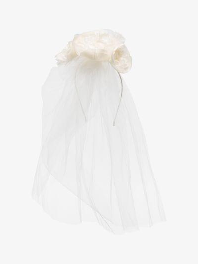white Helena veil headband