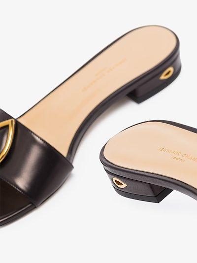 Black Andrea flat leather sandals