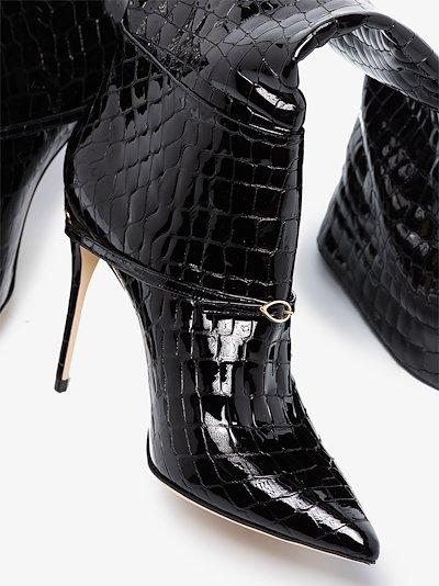 black cece 105 mock croc boots