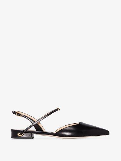 black Vittoria leather slingback pumps