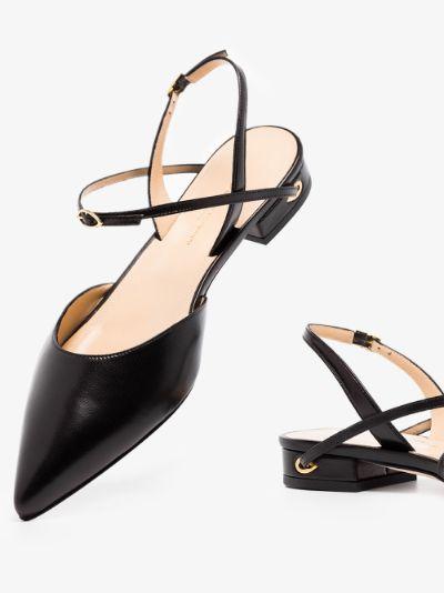 black Vittorio slingback leather pumps