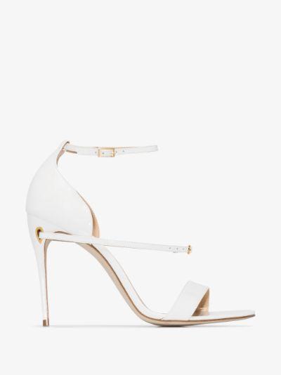 white Rolando 105 patent leather sandals