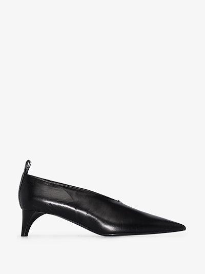 black 45 leather pumps