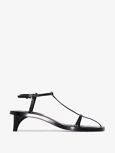 Black 45 T-bar leather sandals