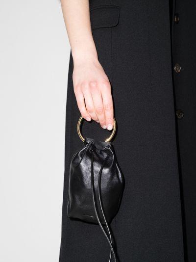 black drawstring leather mini bag