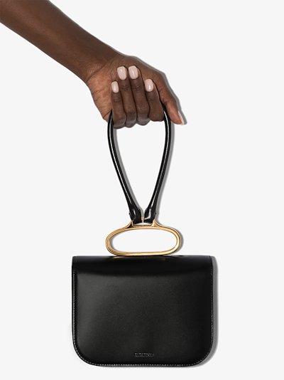 black Handlebar leather clutch bag