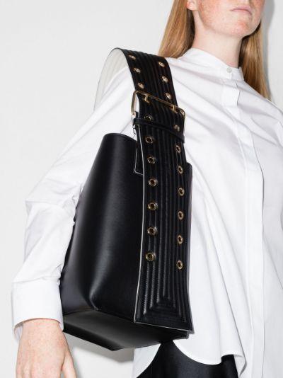 black medium leather bucket bag