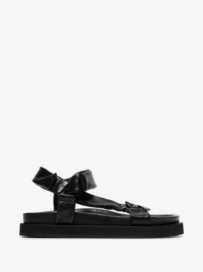 black nappa leather sandals