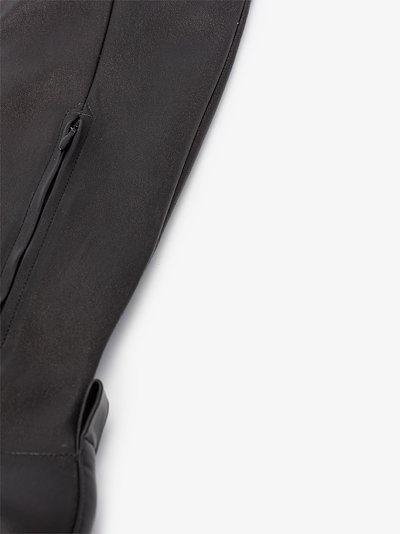 Black sphere leather sandal boots