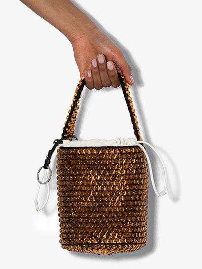 brown beaded leather bucket bag