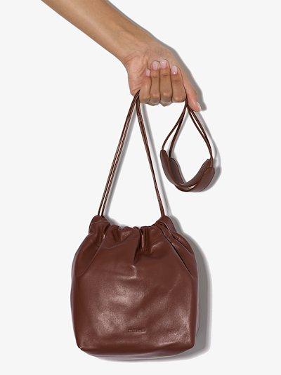 brown drawstring leather bucket bag