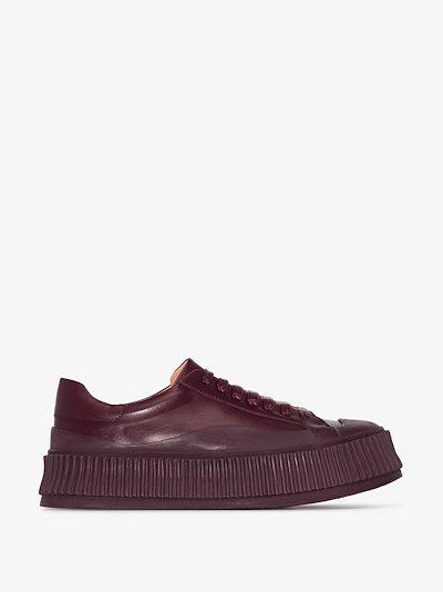 brown platform 45 leather sneakers