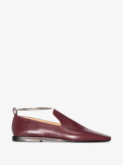 burgundy anklet leather pumps