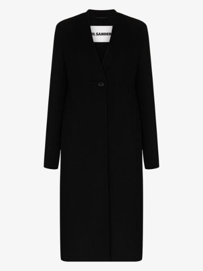 collarless cashmere coat