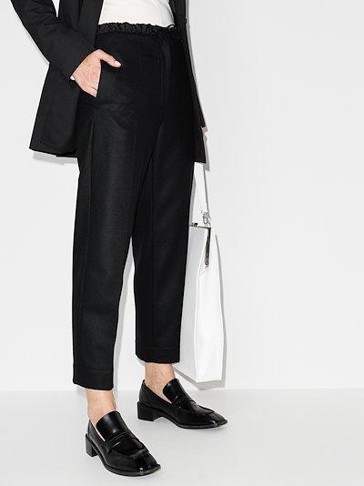 drawstring slim leg wool trousers