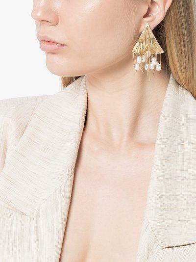 Gold tone tassel pearl earrings