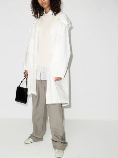 logo print hooded coat
