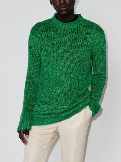 long open-knit linen jumper