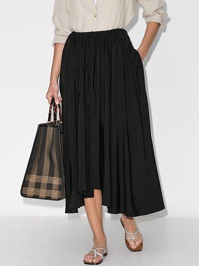 Nasty asymmetric pleated midi skirt