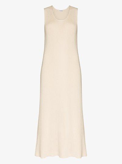sleeveless knitted midi dress