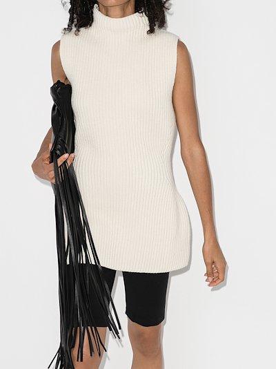 sleeveless wool knit sweater