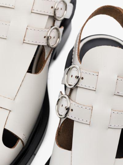 White Cutout Slingback Leather Shoes