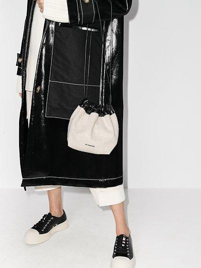 white drawstring bucket bag