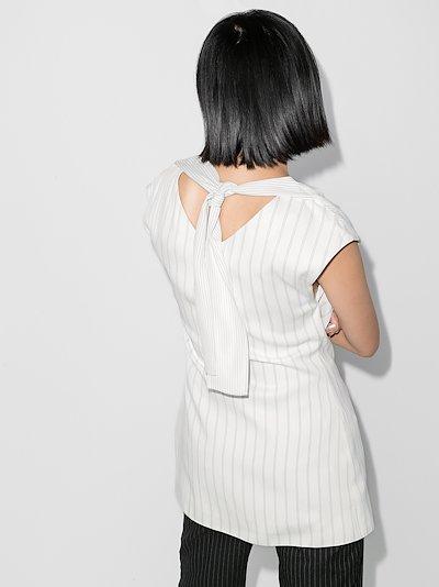X Browns 50 pinstripe draped blouse