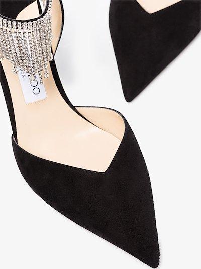 black Birtie 85 crystal suede pumps