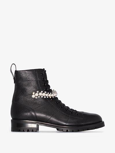 Black Cruz Leather Combat Boots
