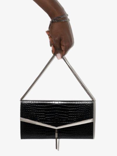 black Elish mock croc leather clutch bag