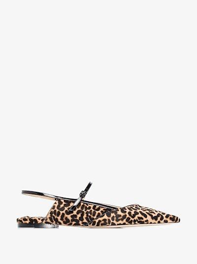 black Ree leopard print leather pumps