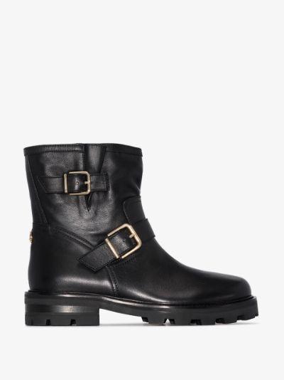 black Youth II leather biker boots
