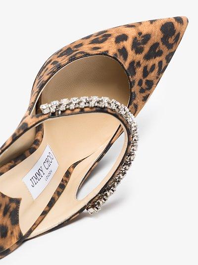 Brown Bing 100 Embellished Leopard Print Mules