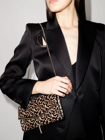 brown Elish leopard print clutch bag