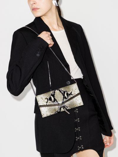 Multicoloured Elish snake print leather clutch bag