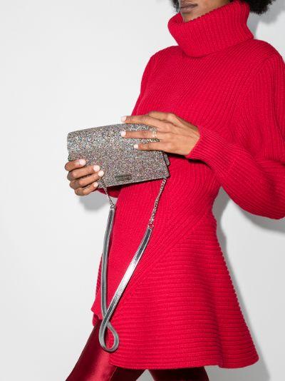 pink Palace glitter clutch bag
