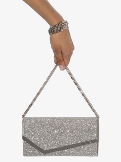 silver Emmie glitter leather clutch bag