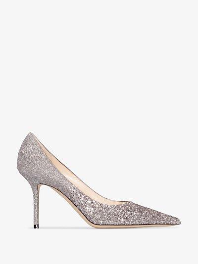 silver Love 85 glitter pumps