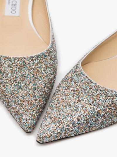silver love glitter pumps