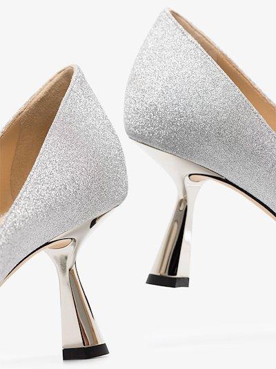silver Rene 65 glitter pumps