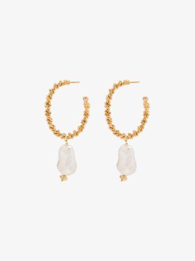 gold-plated twist wire pearl hoop earrings