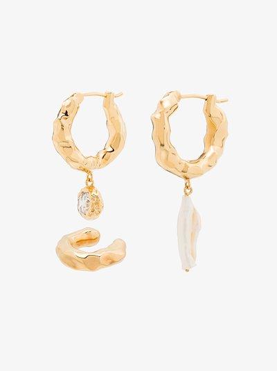 Gold-Plated Waves Crystal Pearl Hoop Earring set