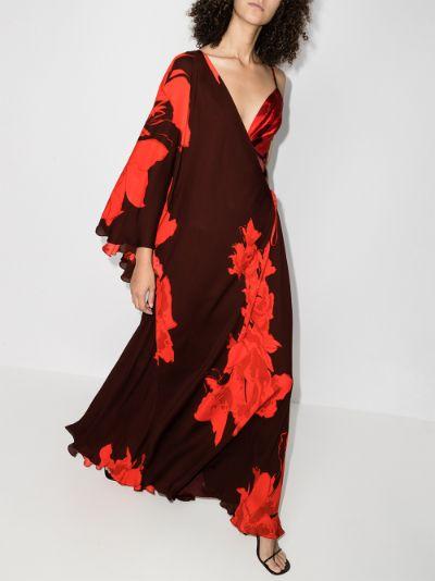 Cartas Olvidadas floral silk maxi dress