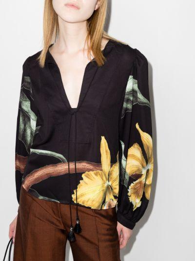 Furor Botanico Print Tie Front Top
