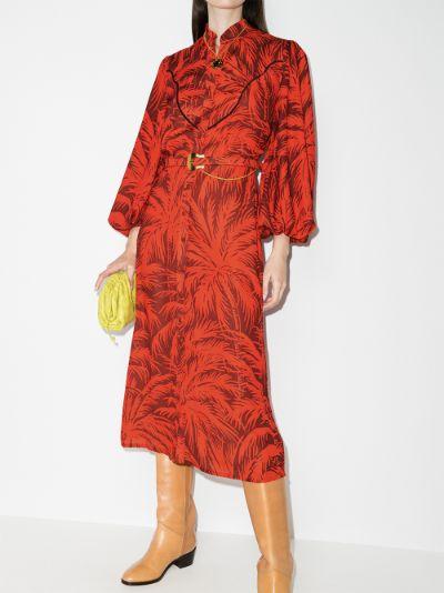 Remembering Us palm print shirt dress