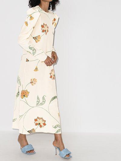 Splashing Flowers silk maxi dress