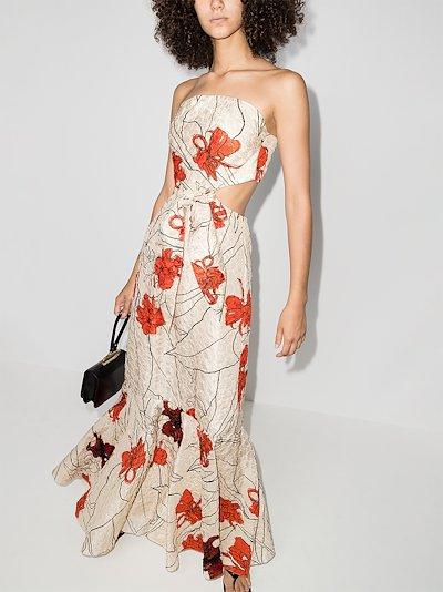 Trazos Misteriosos floral print maxi dress